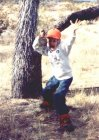 The author's son celebrating after taking a Mojave Desert chukar with 410 gauge shotgun