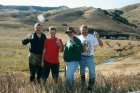 On our last day of hunting, me, Jason, Alton and Dean propose a toast in the foothills of the Bearpaw Mountains.